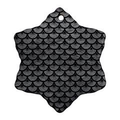 Scales3 Black Marble & Gray Leather (r) Ornament (snowflake)