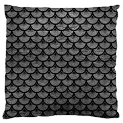 Scales3 Black Marble & Gray Leather (r) Large Cushion Case (one Side)