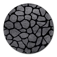 Skin1 Black Marble & Gray Leather Round Mousepads