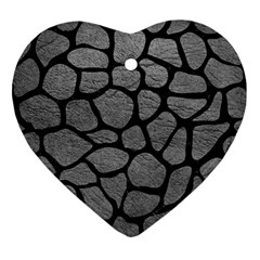 Skin1 Black Marble & Gray Leather Ornament (heart)