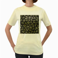 Skin1 Black Marble & Gray Leather Women s Yellow T Shirt