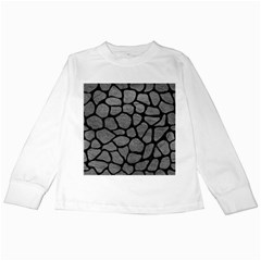 Skin1 Black Marble & Gray Leather Kids Long Sleeve T Shirts