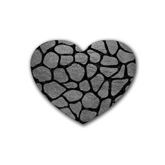 Skin1 Black Marble & Gray Leather Heart Coaster (4 Pack)