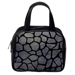 Skin1 Black Marble & Gray Leather Classic Handbags (one Side)