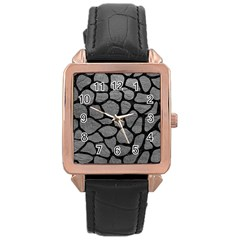 Skin1 Black Marble & Gray Leather Rose Gold Leather Watch