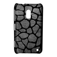 Skin1 Black Marble & Gray Leather Nokia Lumia 620