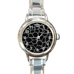 Skin1 Black Marble & Gray Leather (r) Round Italian Charm Watch