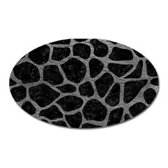 Skin1 Black Marble & Gray Leather (r) Oval Magnet