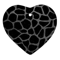 Skin1 Black Marble & Gray Leather (r) Heart Ornament (two Sides)