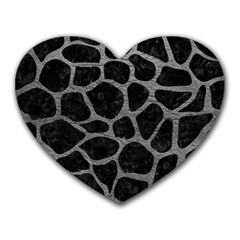 Skin1 Black Marble & Gray Leather (r) Heart Mousepads
