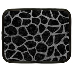 Skin1 Black Marble & Gray Leather (r) Netbook Case (large)