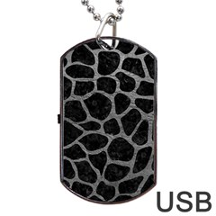 Skin1 Black Marble & Gray Leather (r) Dog Tag Usb Flash (two Sides)