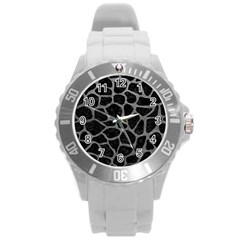 Skin1 Black Marble & Gray Leather (r) Round Plastic Sport Watch (l)