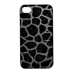 Skin1 Black Marble & Gray Leather (r) Apple Iphone 4/4s Hardshell Case With Stand