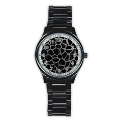 Skin1 Black Marble & Gray Leather (r) Stainless Steel Round Watch