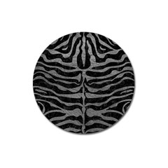 Skin2 Black Marble & Gray Leather Magnet 3  (round)
