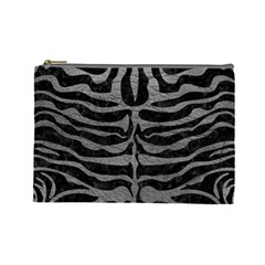 Skin2 Black Marble & Gray Leather Cosmetic Bag (large)