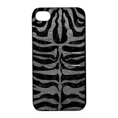 Skin2 Black Marble & Gray Leather Apple Iphone 4/4s Hardshell Case With Stand