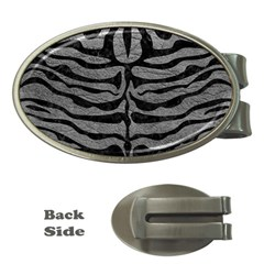 Skin2 Black Marble & Gray Leather (r) Money Clips (oval)