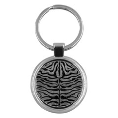 Skin2 Black Marble & Gray Leather (r) Key Chains (round)