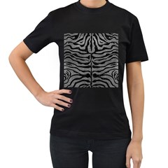 Skin2 Black Marble & Gray Leather (r) Women s T Shirt (black) (two Sided)