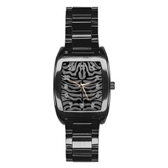 Skin2 Black Marble & Gray Leather (r) Stainless Steel Barrel Watch
