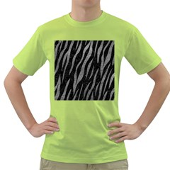 Skin3 Black Marble & Gray Leather Green T Shirt