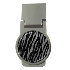 Skin3 Black Marble & Gray Leather Money Clips (round)