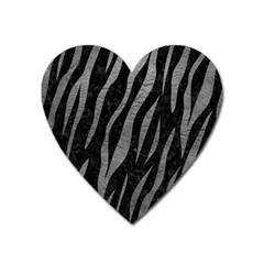 Skin3 Black Marble & Gray Leather Heart Magnet