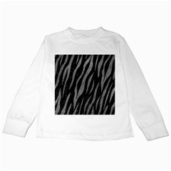 Skin3 Black Marble & Gray Leather Kids Long Sleeve T Shirts