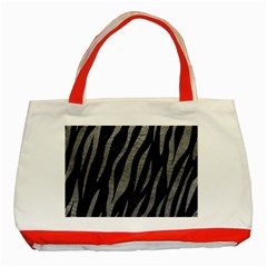 Skin3 Black Marble & Gray Leather Classic Tote Bag (red)