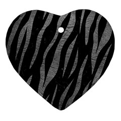 Skin3 Black Marble & Gray Leather Heart Ornament (two Sides)