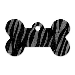 Skin3 Black Marble & Gray Leather Dog Tag Bone (two Sides)