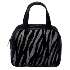 Skin3 Black Marble & Gray Leather Classic Handbags (one Side)