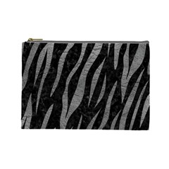 Skin3 Black Marble & Gray Leather Cosmetic Bag (large)