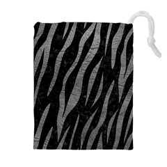 Skin3 Black Marble & Gray Leather Drawstring Pouches (extra Large)
