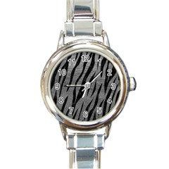 Skin3 Black Marble & Gray Leather (r) Round Italian Charm Watch