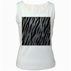 Skin3 Black Marble & Gray Leather (r) Women s White Tank Top