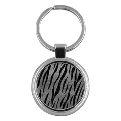 Skin3 Black Marble & Gray Leather (r) Key Chains (round)
