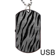 Skin3 Black Marble & Gray Leather (r) Dog Tag Usb Flash (two Sides)