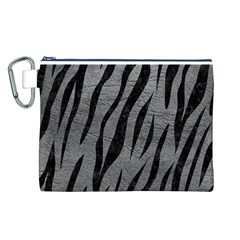 Skin3 Black Marble & Gray Leather (r) Canvas Cosmetic Bag (l)