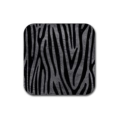 Skin4 Black Marble & Gray Leather Rubber Square Coaster (4 Pack)