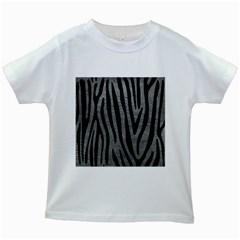 Skin4 Black Marble & Gray Leather Kids White T Shirts