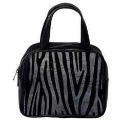 Skin4 Black Marble & Gray Leather Classic Handbags (one Side)