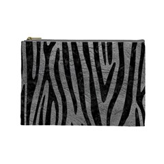 Skin4 Black Marble & Gray Leather Cosmetic Bag (large)