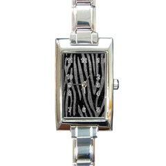 Skin4 Black Marble & Gray Leather (r) Rectangle Italian Charm Watch