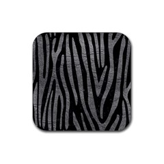 Skin4 Black Marble & Gray Leather (r) Rubber Coaster (square)