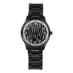 Skin4 Black Marble & Gray Leather (r) Stainless Steel Round Watch