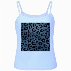 Skin5 Black Marble & Gray Leather Baby Blue Spaghetti Tank