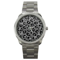 Skin5 Black Marble & Gray Leather Sport Metal Watch